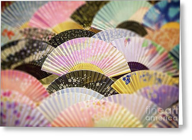 Japanese Souvenir Fans Greeting Card by Jane Rix