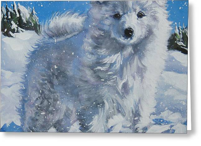 Japanese Puppy Greeting Cards - Japanese spitz Greeting Card by Lee Ann Shepard
