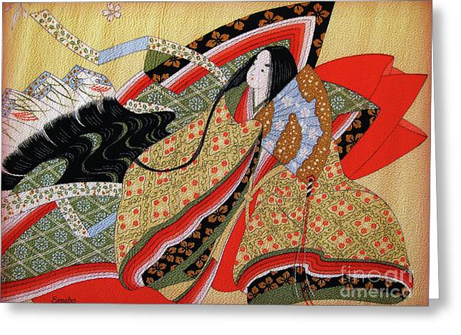 Figure Drawing Greeting Cards - Japanese Textile Art Greeting Card by Eena Bo