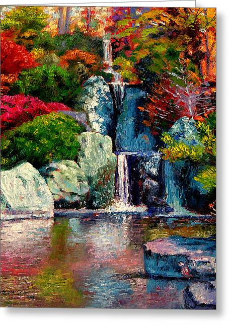 Japanese Waterfall Greeting Card by John Lautermilch