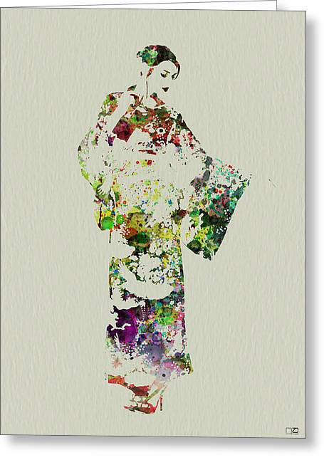 Dancing Girl Greeting Cards - Japanese woman in kimono Greeting Card by Naxart Studio