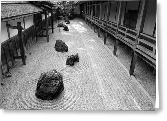 Gravel Greeting Cards - Japanese Zen Garden Greeting Card by Sebastian Musial