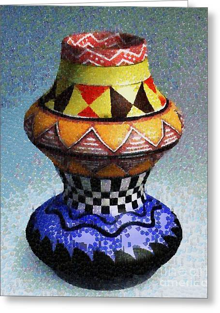 Chatty Greeting Cards - Jar in orange and blue Greeting Card by Magomed Magomedagaev