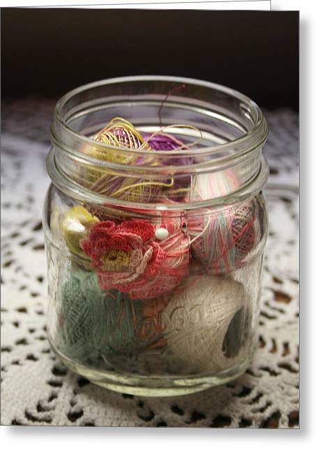 Jar Of Coats Greeting Card by Marna Edwards Flavell