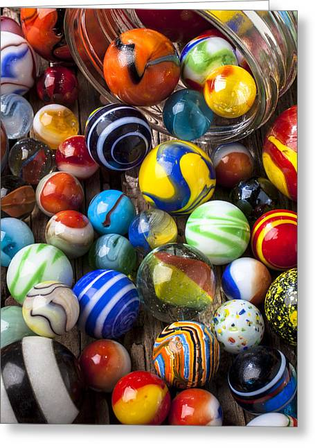 Old Objects Greeting Cards - Jar of marbles Greeting Card by Garry Gay