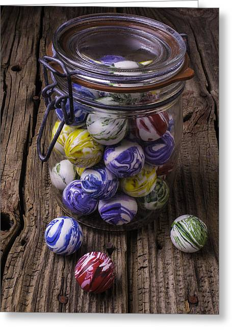 Jar Of Rubber Balls Greeting Card by Garry Gay