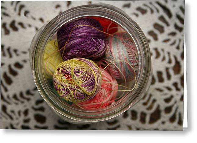 Jar Of Threads Greeting Card by Marna Edwards Flavell