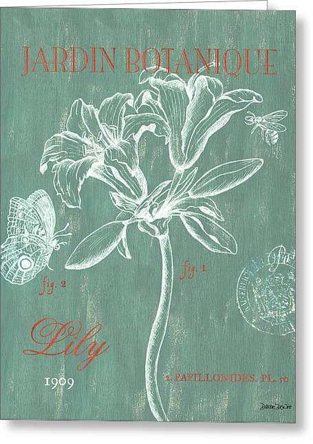Jardin Botanique Aqua Greeting Card by Debbie DeWitt