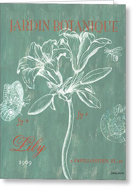 Flower Blooms Drawings Greeting Cards - Jardin Botanique Aqua Greeting Card by Debbie DeWitt