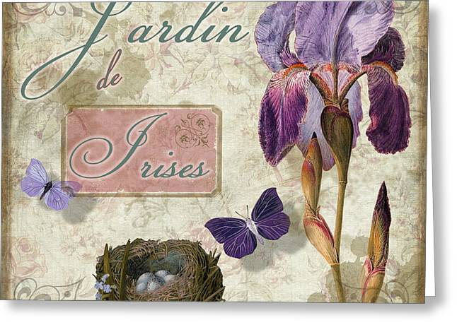 Vintage Rose Greeting Cards - Jardin de Irises Greeting Card by Mindy Sommers