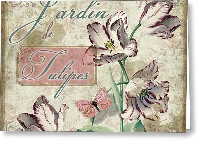 Vintage Rose Greeting Cards - Jardin de Tulipes Greeting Card by Mindy Sommers