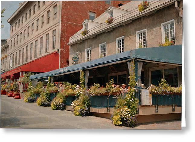 Jardin Nelson - Old Montreal Greeting Card by Maria Angelica Maira