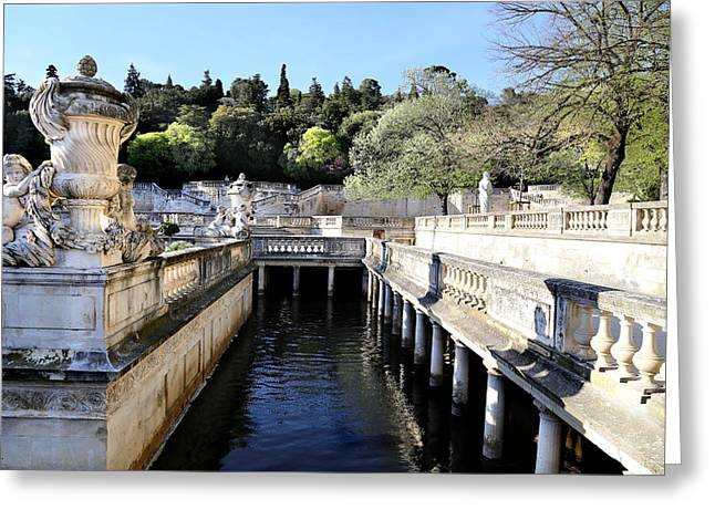Public Bath Greeting Cards - Jardins De La Fontaine Greeting Card by Andrew Fare