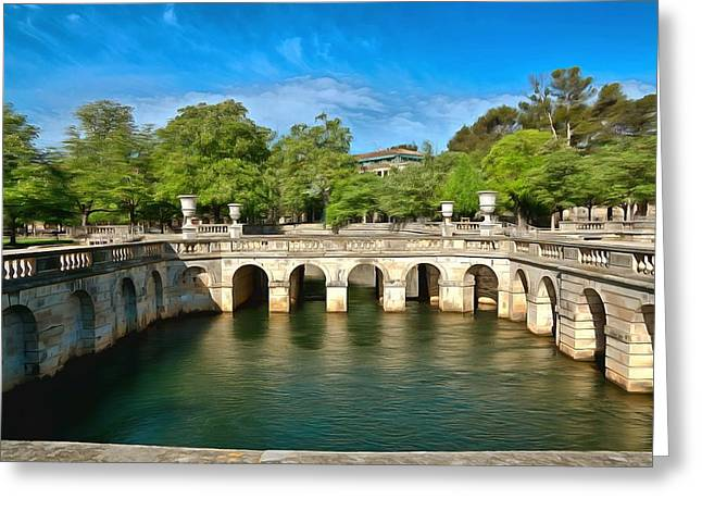 18th Century Mixed Media Greeting Cards - Jardins de la Fontaine Nimes Greeting Card by Scott Carruthers