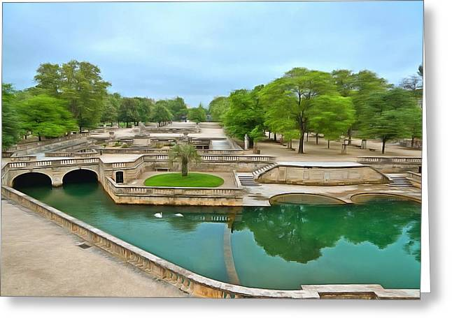 18th Century Mixed Media Greeting Cards - Jardins De La Fontaine Nimes1 Greeting Card by Scott Carruthers