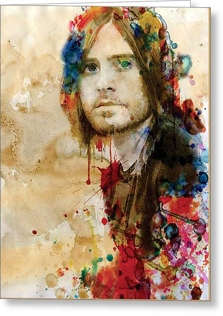 Painted Walls Greeting Cards - Jared Leto watercolor Greeting Card by Marian Voicu