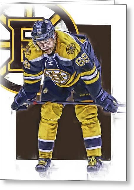 Jaromir Jagr Boston Bruins Oil Art Series 4 Greeting Card by Joe Hamilton