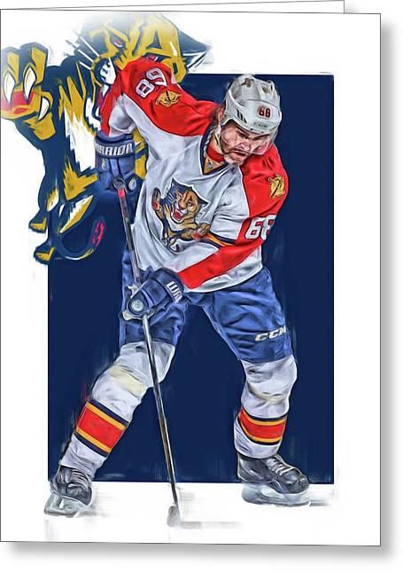 Jaromir Jagr Florida Panthers Oil Art Series 3 Greeting Card by Joe Hamilton