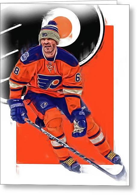 Jaromir Jagr Philadelphia Flyers Oil Art Series 2 Greeting Card by Joe Hamilton