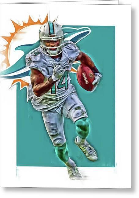 Jarvis Landry Miami Dolphins Oil Art Greeting Card by Joe Hamilton