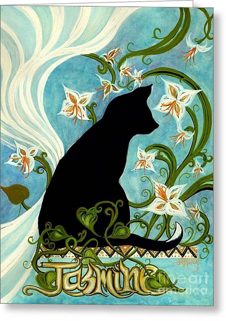 Jasmine On My Mind - Black Cat In Window Greeting Card by Janine Riley