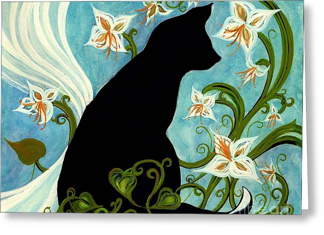 Jasmine On My Mind - Le Chat Noir Greeting Card by Janine Riley