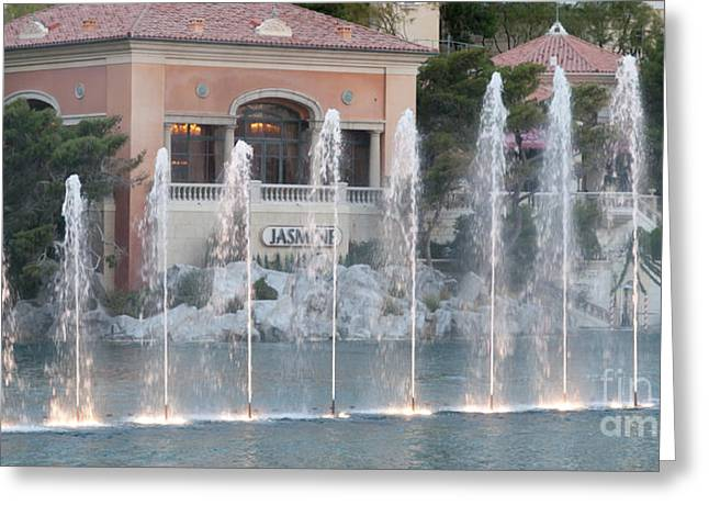 Bellagio Fountains Greeting Cards - Jasmine Restaurant View Greeting Card by Andy Smy