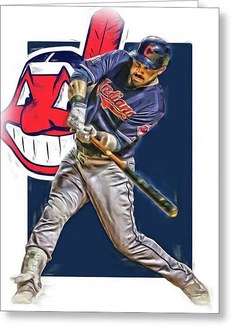 Jason Kipnis Cleveland Indians Oil Art Greeting Card by Joe Hamilton