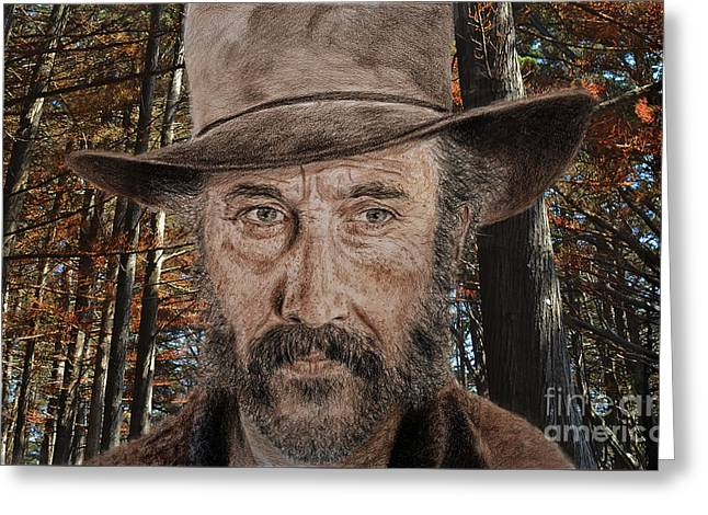 Beach Photos Greeting Cards - Jason Robards as Cheyenne in Once Upon a Time in the West Greeting Card by Jim Fitzpatrick