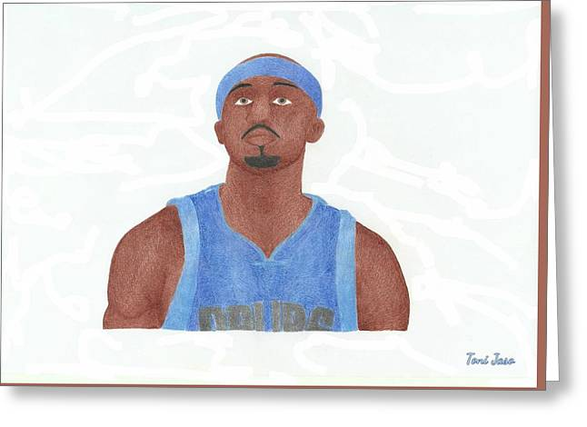Slam Drawings Greeting Cards - Jason Terry Greeting Card by Toni Jaso