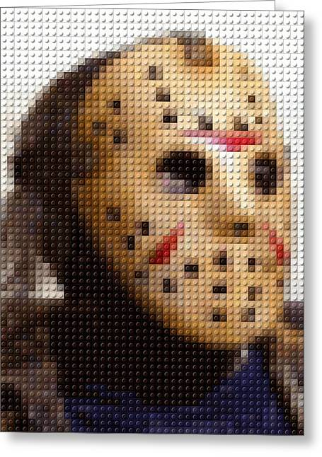 Jason Voorhees Greeting Cards - Jason Voorhees Lego Mosaic Greeting Card by Paul Van Scott