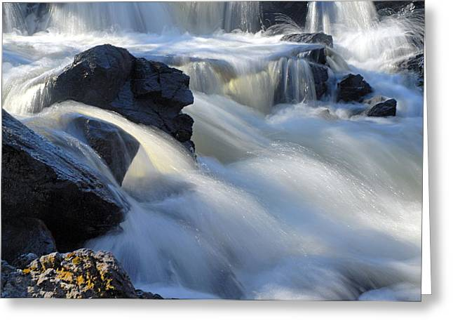 Canoe Waterfall Photographs Greeting Cards - Jasper Falls Closeup Greeting Card by Larry Ricker