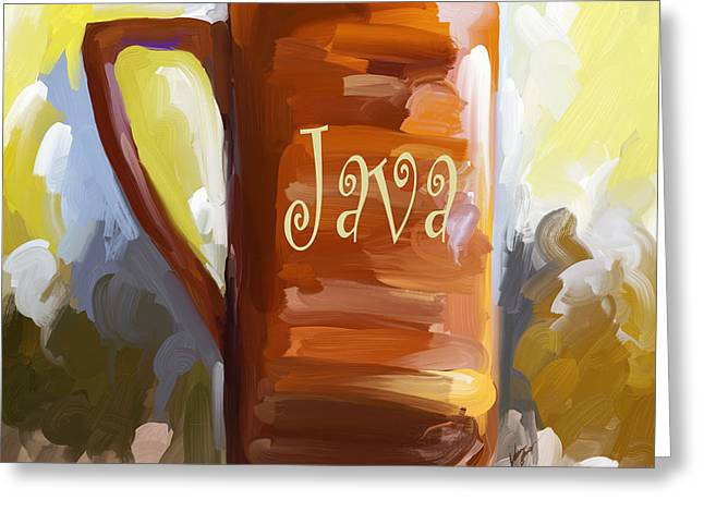 Java Coffee Cup Greeting Card by Jai Johnson
