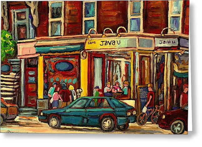 Canadian Heritage Paintings Greeting Cards - Java U Coffee Shop Montreal Painting By Streetscene Specialist Artist Carole Spandau Greeting Card by Carole Spandau