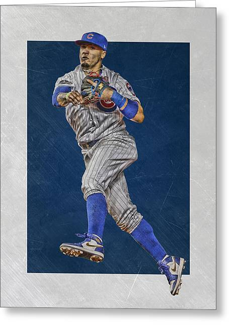 Javier Baez Chicago Cubs Art Greeting Card by Joe Hamilton