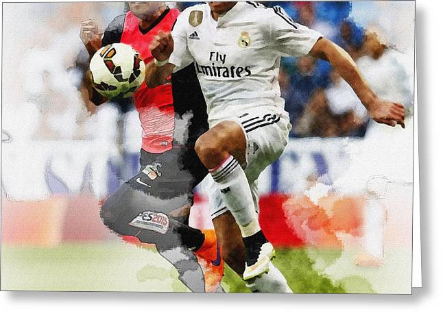 Football Collectibles Greeting Cards - Javier Hernandez fights for the ball  Greeting Card by Don Kuing