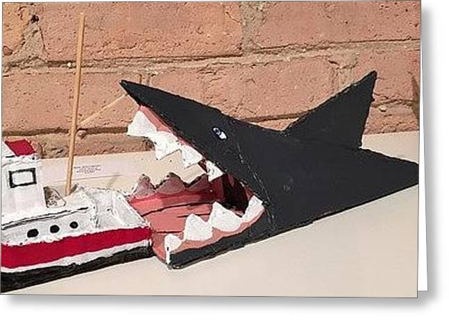 Sharks Sculptures Greeting Cards - Jaws Greeting Card by William Douglas