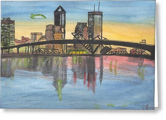 Jacksonville Mixed Media Greeting Cards - Jax Cityscape Greeting Card by JD Moores