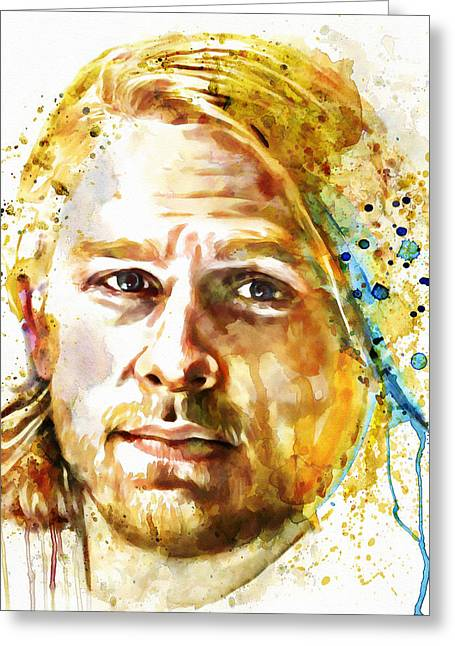 Jax Greeting Cards - Jax Teller watercolor Greeting Card by Marian Voicu