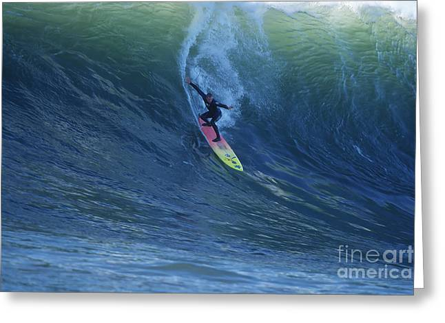 Half Moon Bay Greeting Cards - Jay Drops In at Mavericks Greeting Card by Stan and Anne Foster