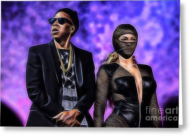 Pop Greeting Cards - Jay Z and Beyonce Collection Greeting Card by Marvin Blaine