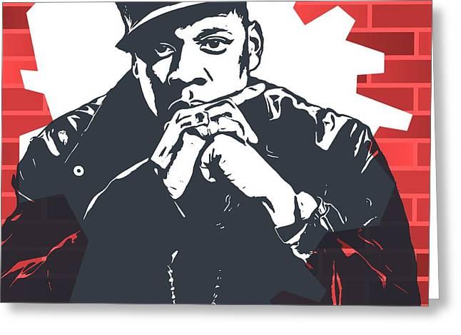 Jay Z Graffiti Tribute Greeting Card by Dan Sproul
