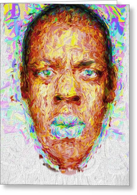 Jay Z Painted Digitally 2 Greeting Card by David Haskett