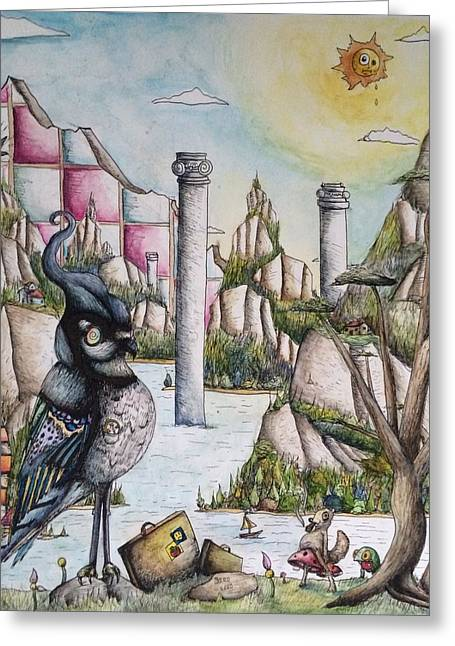 Pen And Ink Drawing Greeting Cards - Jays Journey  Greeting Card by John Rego