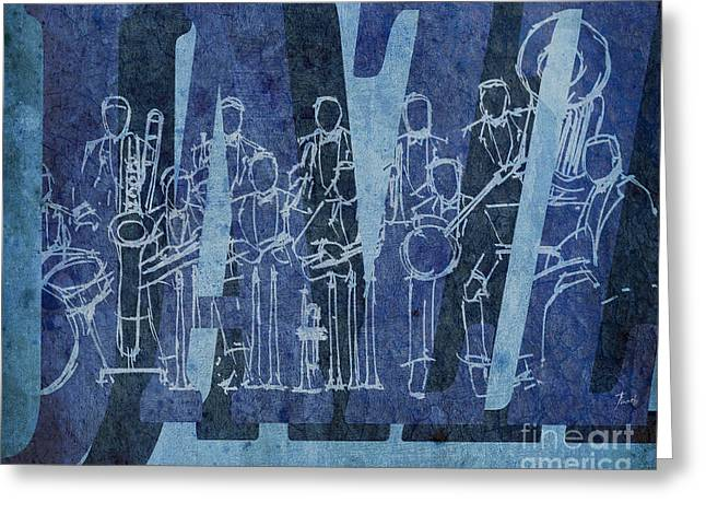 Cavern Mixed Media Greeting Cards - Jazz 30 Orchestra Blue Greeting Card by Pablo Franchi