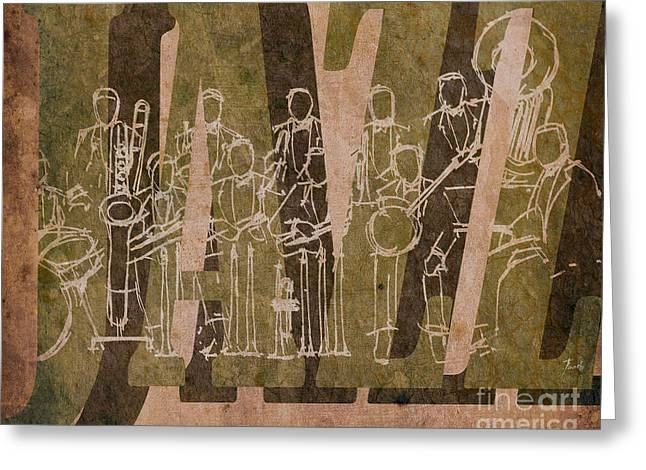 Cavern Mixed Media Greeting Cards - Jazz 30 Orchestra Brown Greeting Card by Pablo Franchi