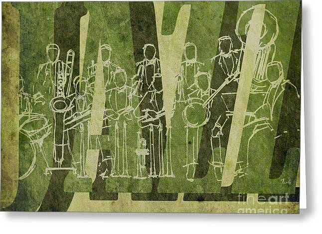Cavern Mixed Media Greeting Cards - Jazz 30 Orchestra Green Greeting Card by Pablo Franchi