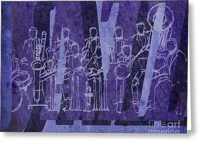 Cavern Mixed Media Greeting Cards - Jazz 30 Orchestra Purple Greeting Card by Pablo Franchi