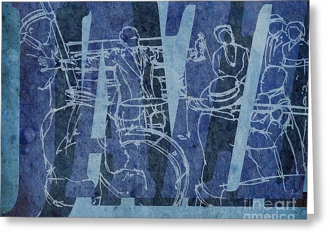 Satchmo Greeting Cards - Jazz 31 Satchmo - Blue Greeting Card by Pablo Franchi
