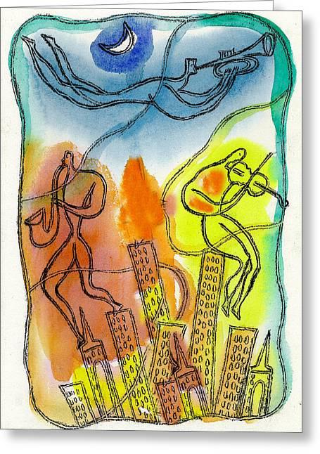 Jazz And The City 3 Greeting Card by Leon Zernitsky